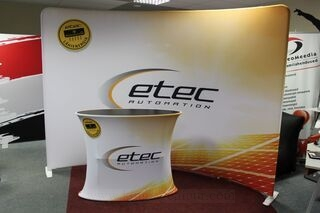 Etec advertising wall and counter