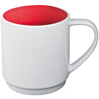 Ceramic cup, coloured inside and white outside